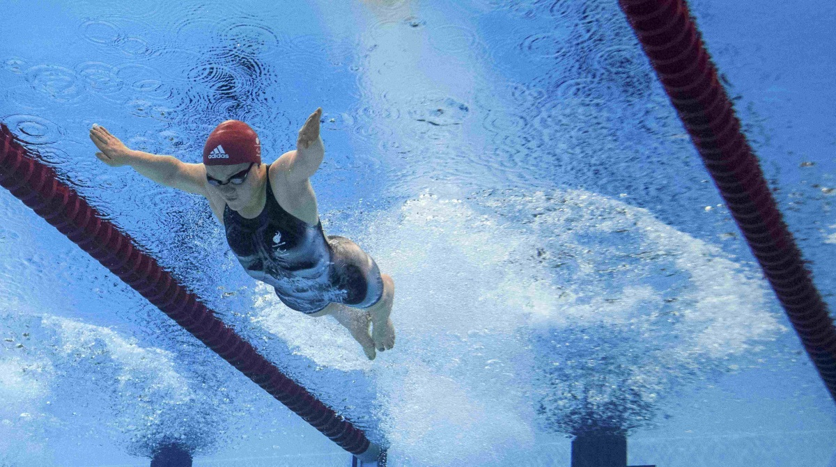 An underwater image of a Paralympian swimmer