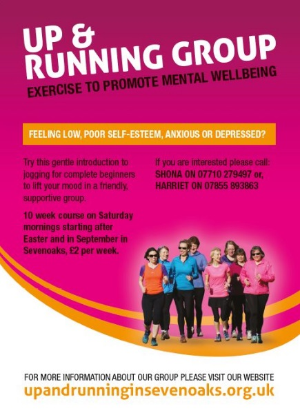 Poster for 'Up and Running,' which is promoted as 'exercise to promote mental well-being.' A few intro paras explain the course, and there's a picture of a group of women also included